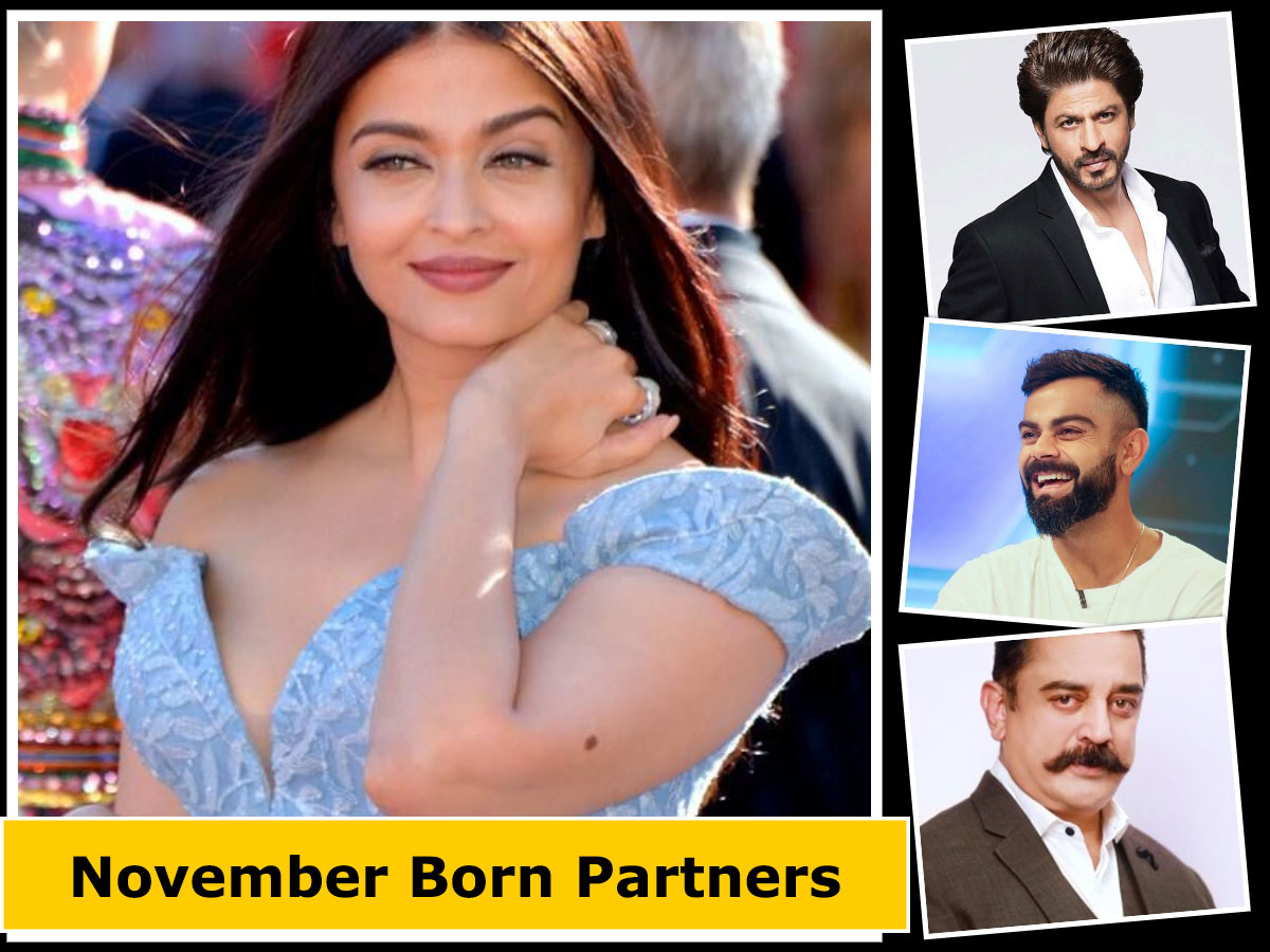 November born celebrities - this is a collage of 4 photos of Aishwarya, Virat, Shahrukh and Kamal Hasaan
