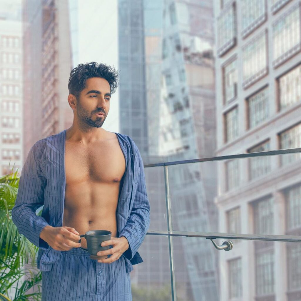 Ayushmann Khurrana top model India - posing open shirt button bare chest