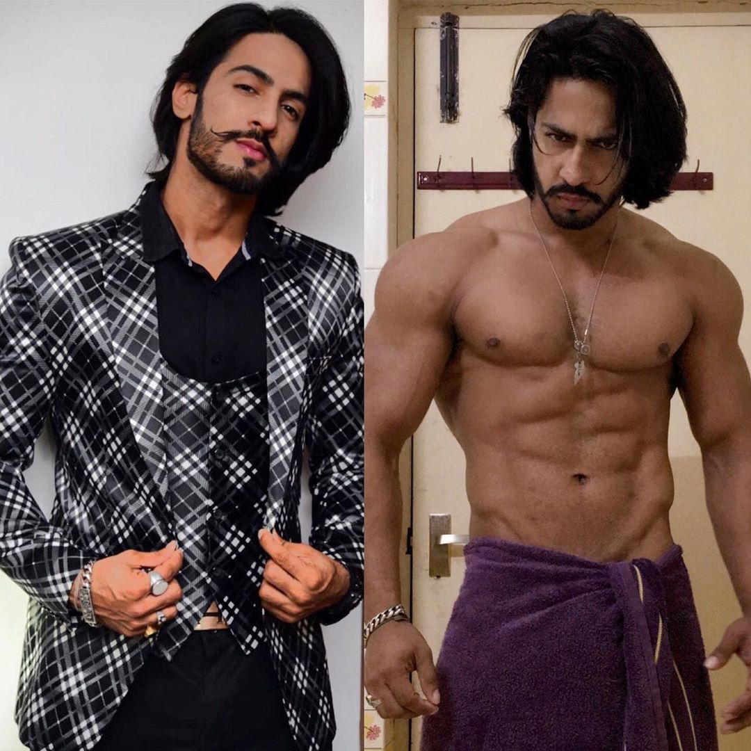 Thakur Anoop Singh top model India - collage of 2 photos wearing black suit and other have bare body. Long hair