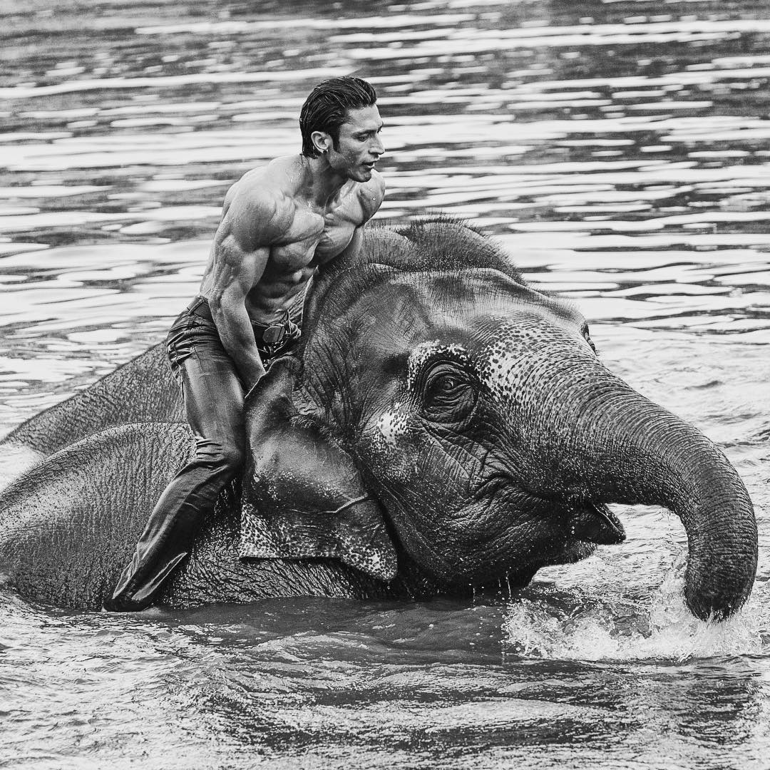 Vidyut Jamwal Top Model India - riding on Elephant in water