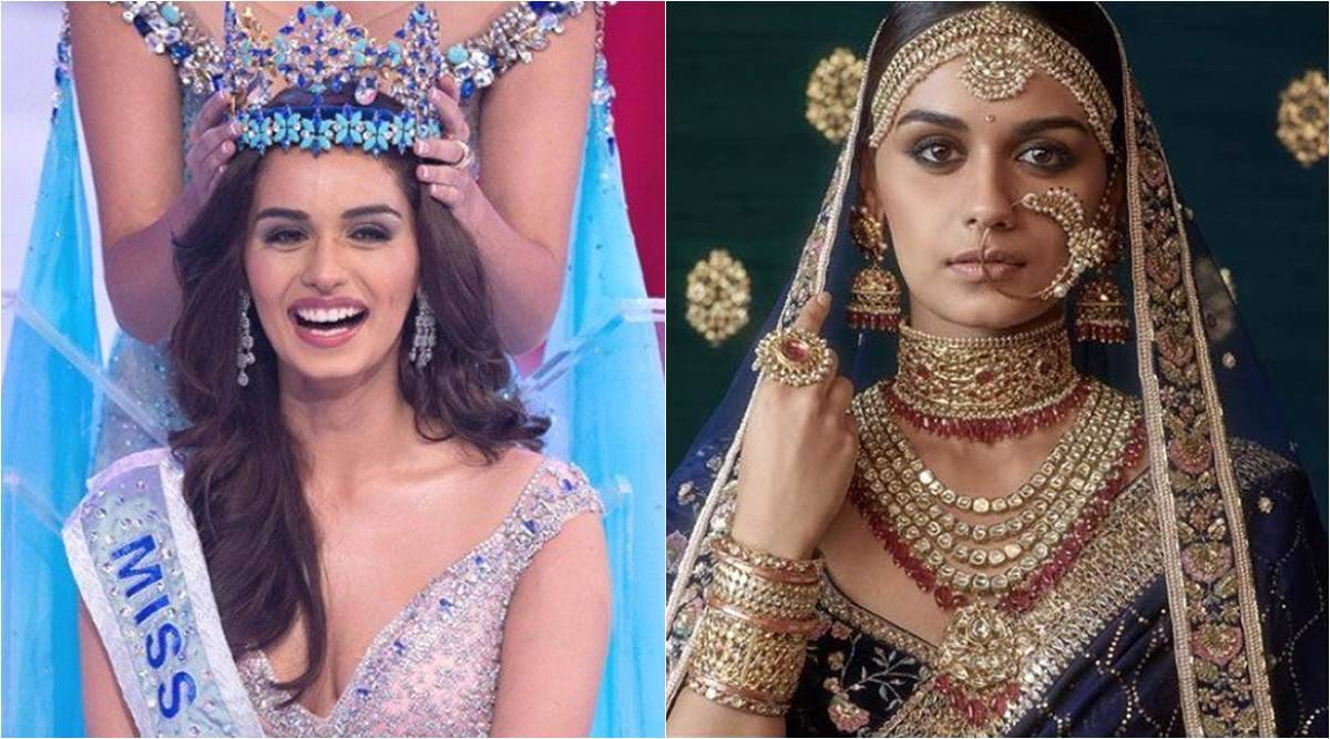 Manushi Chhillar - Collage of her 2 Photos. One photo from her miss universe winning pageant moment and other is bridal dressed up pose