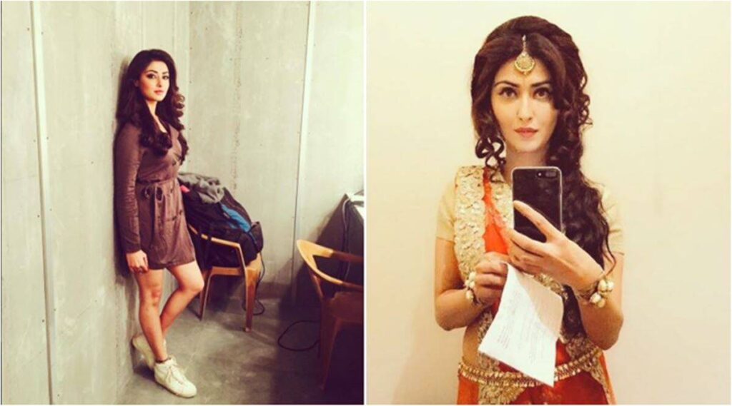 Nikita Sharma - Collage of two photo in two different locations with two different dresses in one short dress and wedding dress