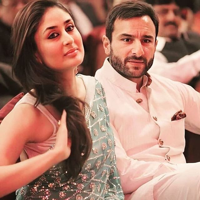 Saif Ali Khan married to Kareena Kapoor Khan (September)- celebrity couple sitting pose together in Indian attires