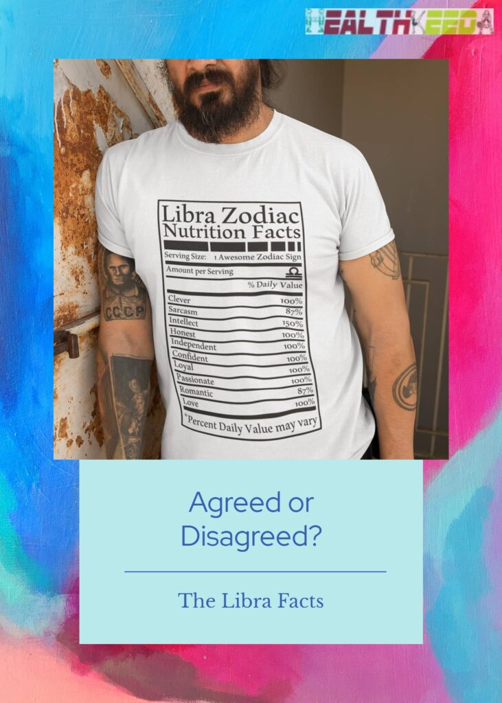 List of Libra Traits - Printed on the Guy's White T-shirt. Very Creative.