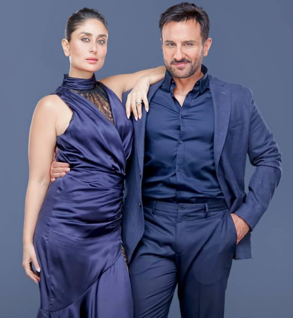 Kareena Kapoor Khan married to Saif Ali Khan - Photo of Celebrity Couple in Blue