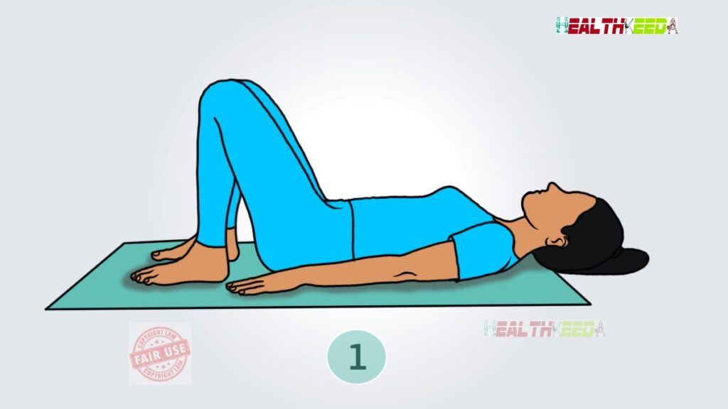 Bridge Pose Yoga - Step 1 | Vector image of a girl is posing in blue