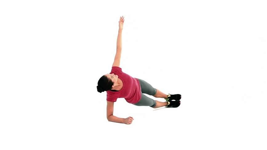 Plank Reach-Under - doing by woman wear tshirt and slacks