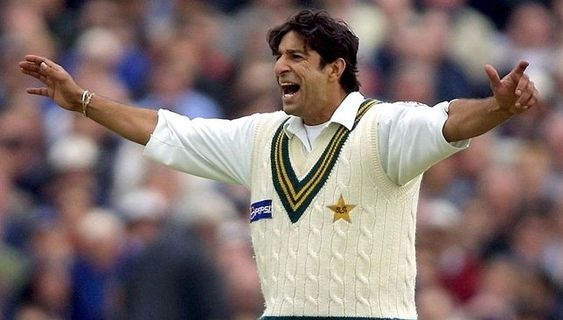 Wasim Akram young photo of during match raising elbows and shout