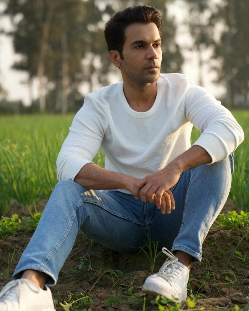 Rajkummar Rao pose with clean and tidy hairstyle & sitting in garden