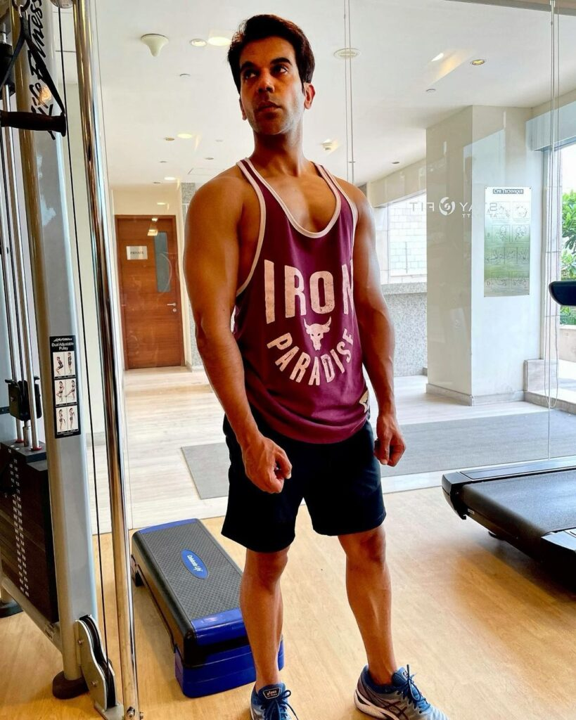 Rajkummar Rao pose with gym look hairstyle & wearing gym outfit