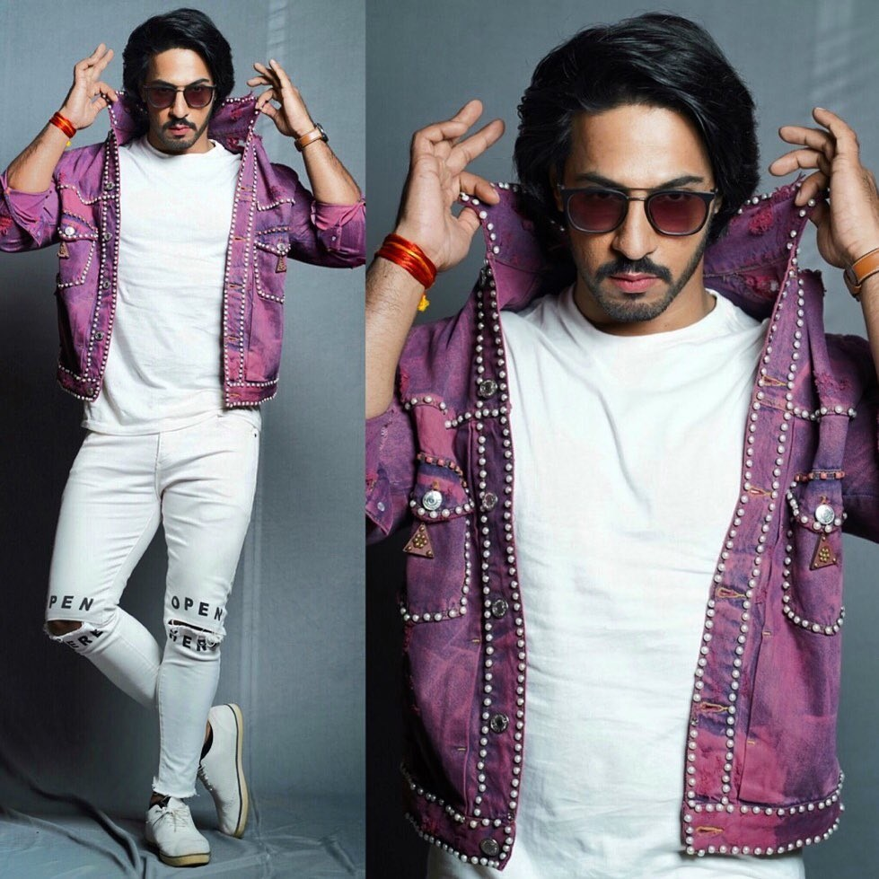 Thakur Anoop Singh - The cool boy- hairstyles look & standing in white & purple outfit