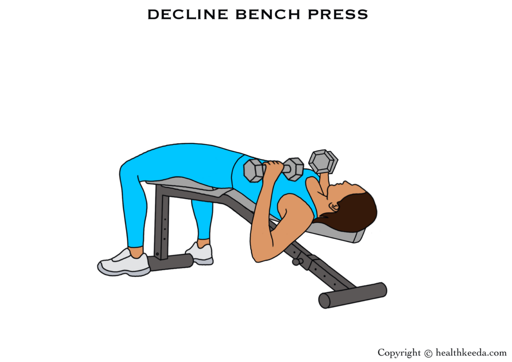 Decline bench press illustration- breast tightening workouts