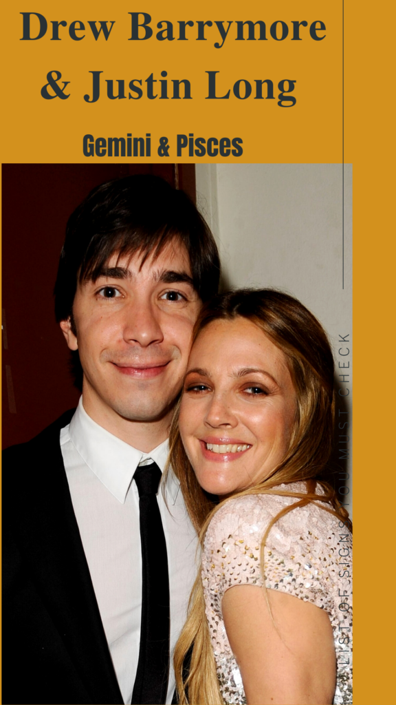 Justin Long (Gemini) and Drew Barrymore (Pisces)- Pisces Compatibility Signs