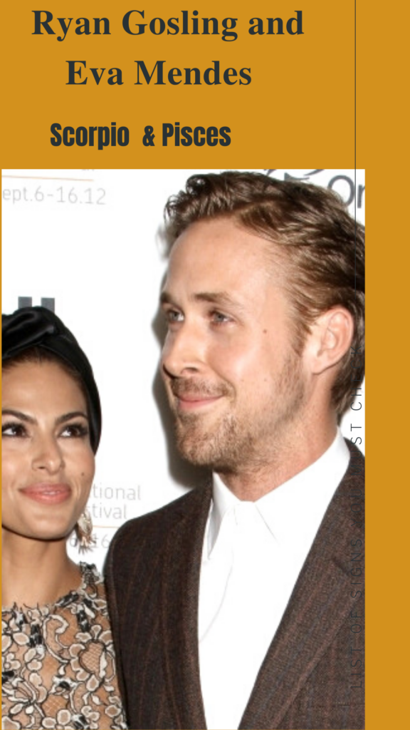 Ryan Gosling (Scorpio) and Eva Mendes (Pisces) - Pisces Compatibility Signs