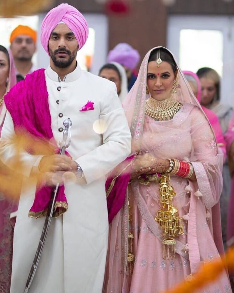 Neha Dhupia with husband Angad Bedi in wedding outfit - husband wife age difference age