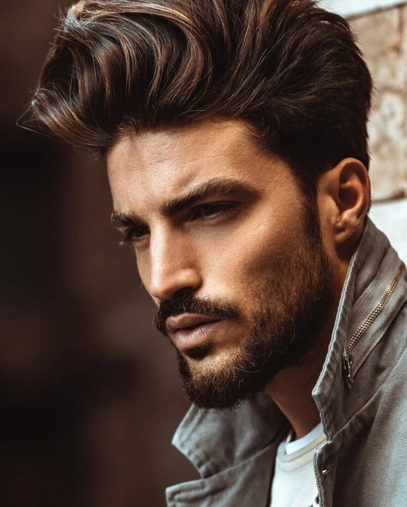 Man with colored hair and short boxed beard in rough looks - Beard Styles For Men 2021