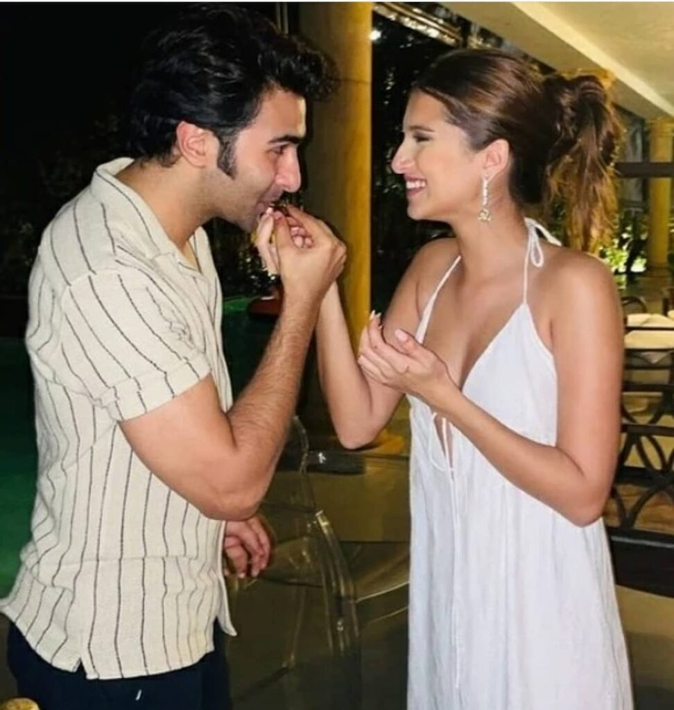 Aadar Jain and Tara Sutaria smiling at each other - famous bollywood couples
