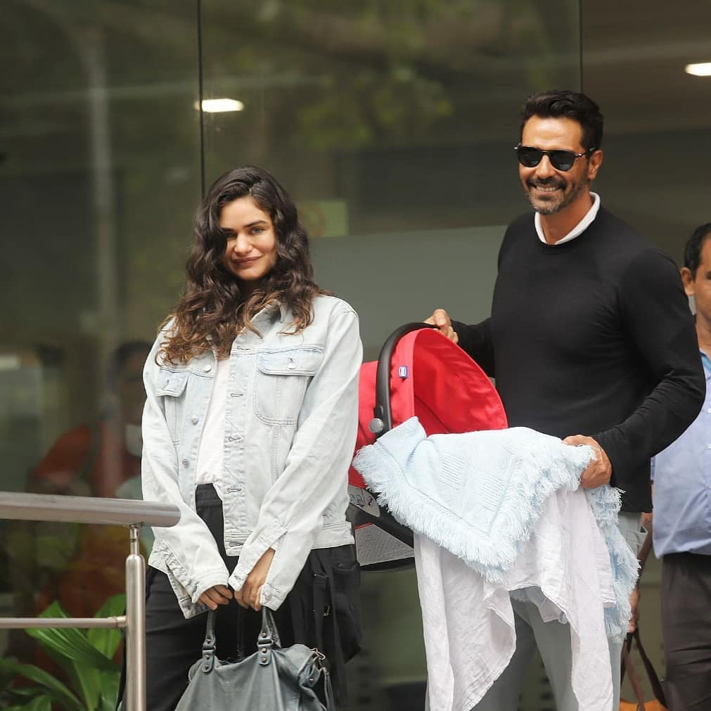 Arjun Rampal and Gabriella spotted outside a hospital with their newborn child - latest bollywood couples news